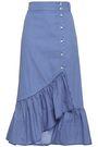 BAUM UND PFERDGARTEN Ruffled striped cotton-blend poplin midi skirt