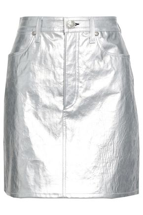 RAG & BONE Metallic cracked-leather mini skirt