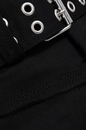 HELMUT LANG Belted paneled twill mini skirt