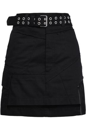 HELMUT LANG | Helmut Lang Belted Paneled Twill Mini Skirt | Goxip