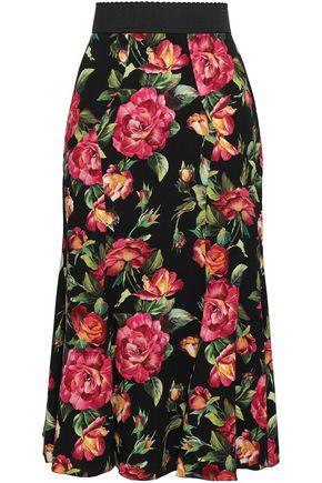 DOLCE & GABBANA Fluted floral-print crepe midi skirt