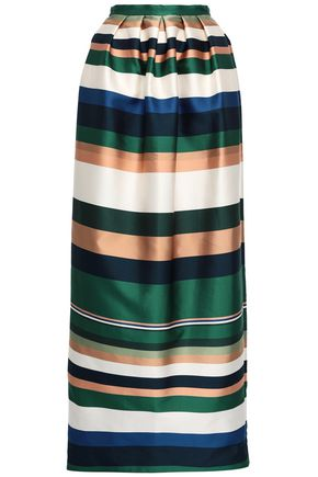 ROSETTA GETTY Pleated striped satin-twill maxi skirt