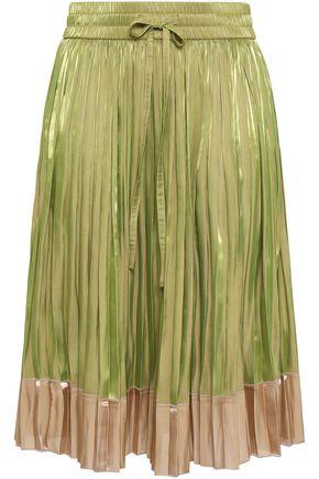 REDValentino Iridescent pleated two-tone satin skirt