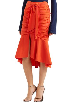 REBECCA VALLANCE Fluted ruched poplin skirt