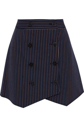 DEREK LAM 10 CROSBY Double-breasted pinstriped cotton-blend twill mini skirt
