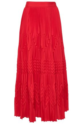 GIVENCHY Pleated crepe de chine midi skirt