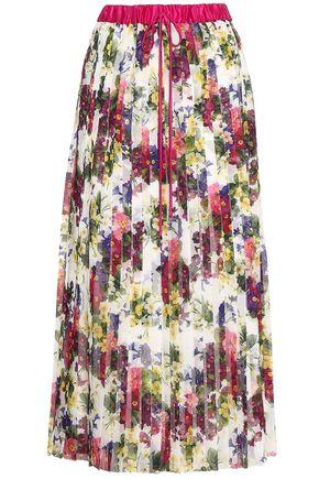 DOLCE & GABBANA Pleated silk-trimmed floral-print chiffon midi skirt
