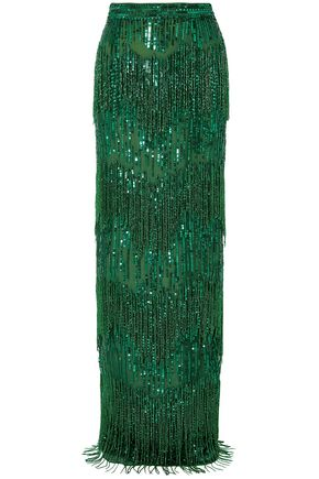 NAEEM KHAN Embellished sequined tulle maxi skirt
