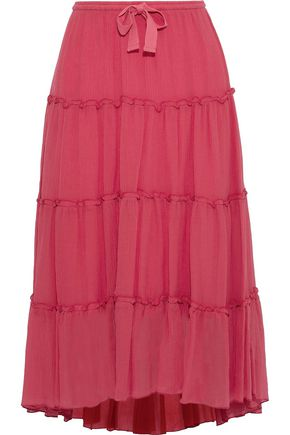 SEE BY CHLOÉ Plissé cotton and silk-blend midi skirt
