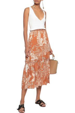 SEE BY CHLOÉ Gathered printed cotton-blend gauze midi skirt