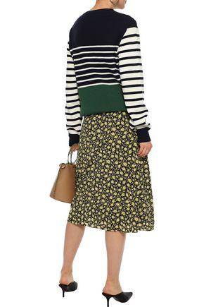 BURBERRY Zip-detailed draped floral-print silk midi skirt