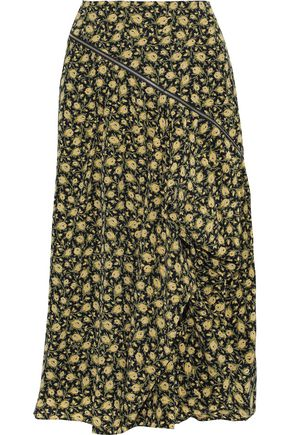 BURBERRY Zip-detailed draped floral-print silk midi skirt