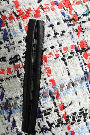 RAG & BONE Leather-trimmed frayed tweed mini skirt