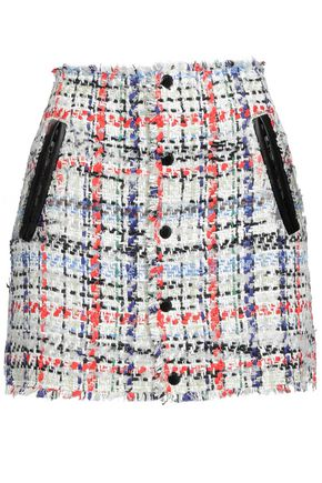 RAG & BONE Leather-trimmed frayed tweed mini skirt