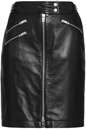 RAG & BONE Zip-detailed textured-leather mini skirt