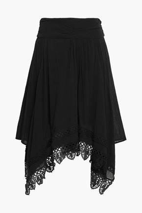 ISABEL MARANT ÉTOILE Lace-trimmed cotton-gauze skirt