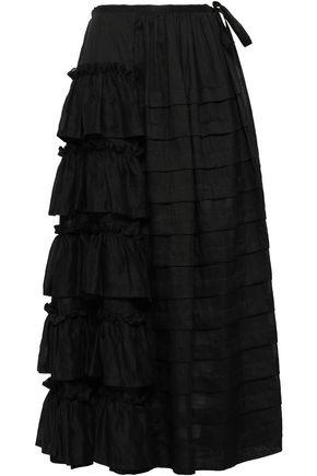 ISA ARFEN Tiered pleated ramie maxi skirt