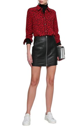 Rag & Bone Woman Textured-leather Mini Skirt Black