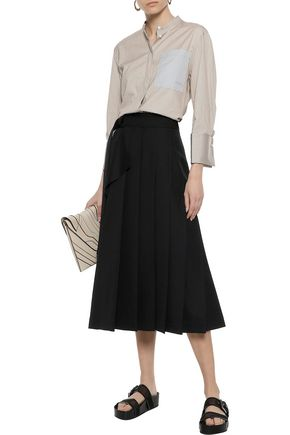 JOSEPH Fleet pleated twill midi wrap skirt
