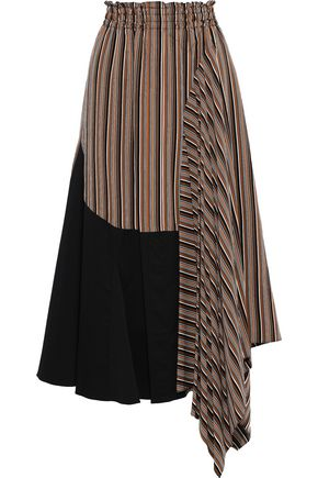 TOME Asymmetric poplin-paneled striped twill skirt
