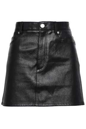 HELMUT LANG Textured-leather mini skirt