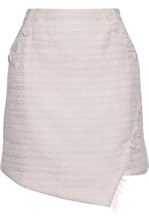 W118 by WALTER BAKER Avery asymmetric frayed metallic tweed mini skirt