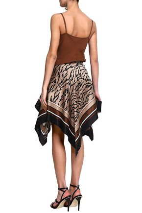 ROBERTO CAVALLI Asymmetric printed silk-satin skirt