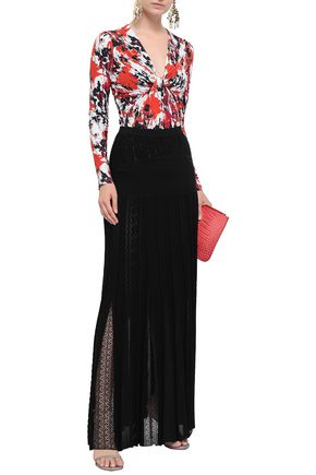 ROBERTO CAVALLI Paneled knitted maxi skirt