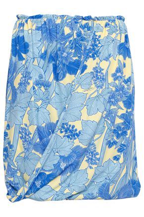 ROBERTO CAVALLI Draped floral-print stretch-jersey mini skirt