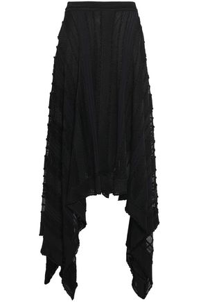 ROBERTO CAVALLI Layered asymmetric jacquard-knit skirt