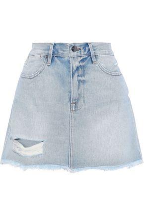 FRAME Rigid Re-Release Le High Mini distressed denim mini skirt
