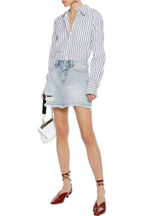 FRAME Rigid Re-Release Le High Mini distressed denim mini skirt