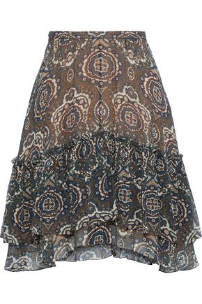 CHLOÉ Layered printed silk-georgette mini skirt