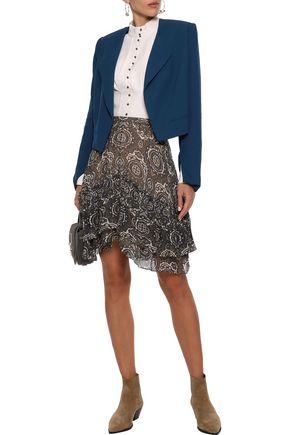 CHLOÉ Layered printed silk-georgette mini skirt