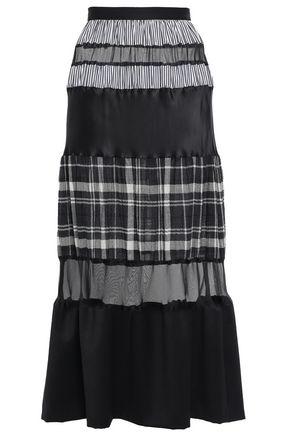 MAISON MARGIELA Paneled printed cotton-poplin, twill and organza midi skirt