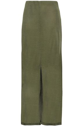 NINETY PERCENT Split-front stretch-jersey maxi skirt