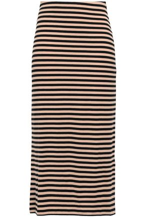 NINETY PERCENT Striped stretch-jersey midi skirt