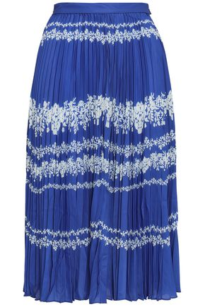 SELF-PORTRAIT Pleated printed twill midi skirt