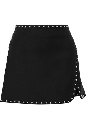 HELMUT LANG Wrap-effect studded ponte mini skirt