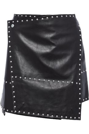 HELMUT LANG Studded leather mini wrap skirt
