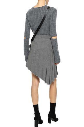 HELMUT LANG Asymmetric pleated wool-blend mini skirt