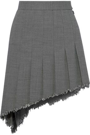 HELMUT LANG Asymmetric pleated wool-blend mini skirt
