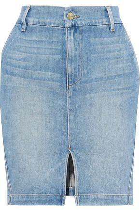 FRAME Faded denim mini skirt