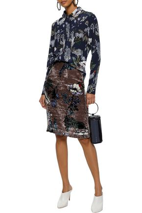 MARKUS LUPFER Amery ruffle-trimmed floral-print velvet skirt