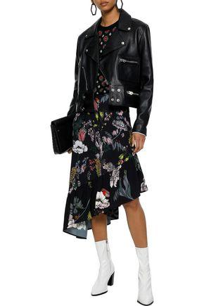 MARKUS LUPFER Kasey asymmetric floral-print crepe de chine midi skirt