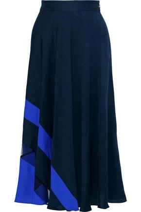 MILLY Tulle-paneled silk-blend crepe de chine midi skirt