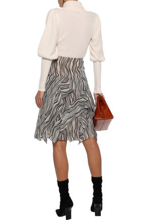 CHLOÉ Layered printed silk-georgette skirt