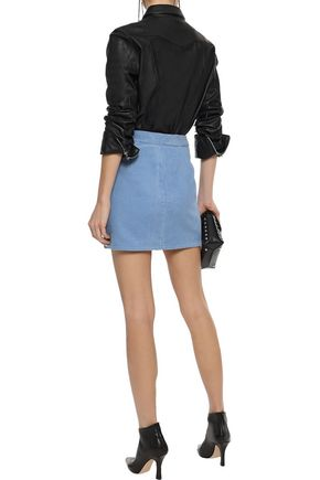 RAG & BONE Racer zip-detailed cotton-corduroy mini skirt