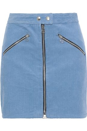 RAG & BONE Racer zip-detailed cotton-corduroy mini skirt
