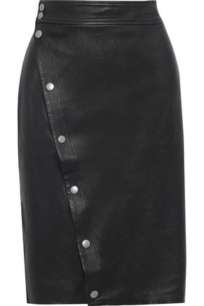 RAG & BONE Baha snap-detailed leather pencil skirt